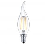 LED Лампа C35TA (свеча на ветру)  5 Вт. прозрачная серии Филамент